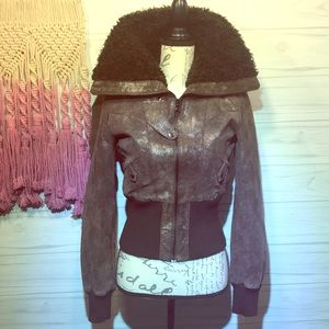 Guess Brown Shine Leather Coat Size Small